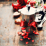 Valentine's day composition with coffee