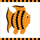 Funny orange fish with black stripes