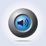 Speaker volume icon on blue button