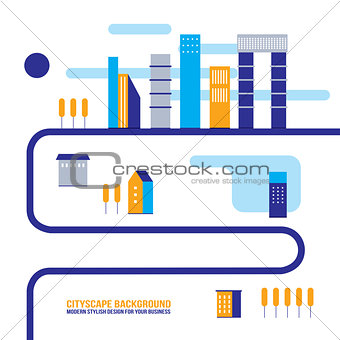 Cityscape background City building silhouettes