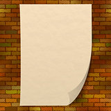 Paper sheet on brick wall