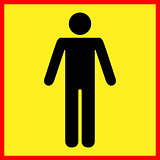 Standing human warning icon. Vector illustration