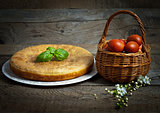 Freshly baked traditional Russian homemade pie with potatoes and