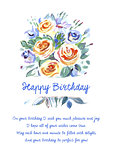 Greeting card Happy Birthday with beautiful bouquet of flowers and a poem.