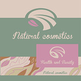 Vector logo natural cosmetics. Banner and badge. The color background pattern with vegetative elements