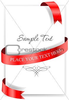 Greeting card with a red ribbon.
