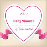 Baby shower greeting with heart and ribbon