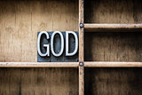 God Letterpress Type in Drawer