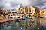 Spinola Bay and Portomaso Tower in Saint Julian, Malta
