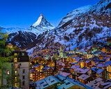 Aerial View on Zermatt Valley and Matterhorn Peak at Dawn, Switz
