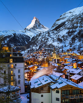 Aerial View on Zermatt Valley and Matterhorn at Dawn, Zermatt, S