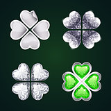 Vector Silver Four-leaf Clovers Set3