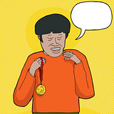 Man with Medal Talking