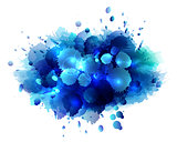 Abstract artistic background of blue paint splashes