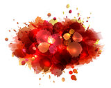 Abstract artistic background of red paint splashes.