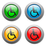 Disabled icon set on glass buttons