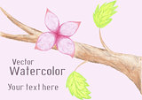Gentle watercolor flower on branch
