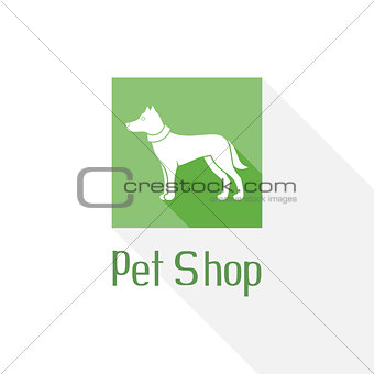 Flat pet shop logo with dog