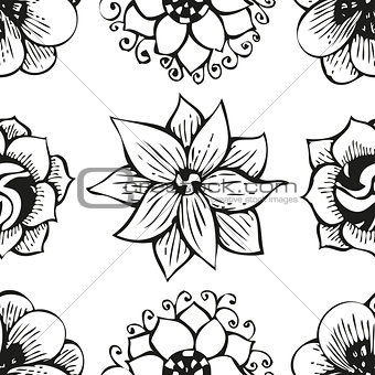 Floral doodling flower seamless pattern in tattoo style