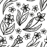 Floral doodling seamless background in tattoo style