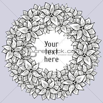 Greeting card with floral wreath in tattoo style