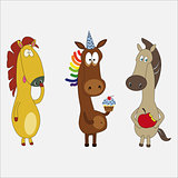 Set of funny horses cartoon character