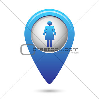 Blue map pointer with woman icon