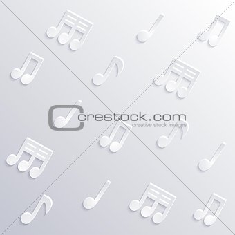 Abstract musical background with notes, sticker wallpaper and music signs, eps10