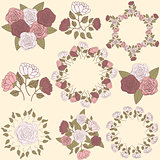 Retro floral wreath and flower bouquet collection, part 2