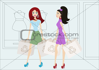 Cartoon shopping girls with reusable bags