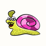 Funny disco cartoon snail with Elvis's hairdress