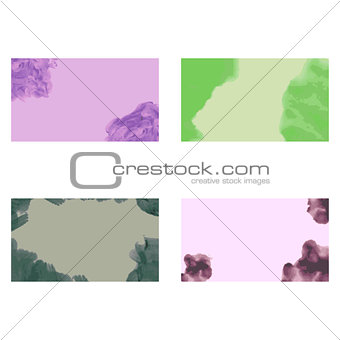 Four abstract business cards templates with watercolor backgrounds, eps10