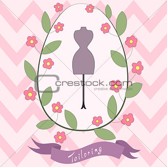 Bright floral card, cute cartoon tailoring emblem with mannequin