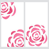 Vertical banners with watercolor roses