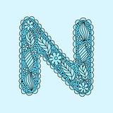 Cute letter N. Floral monogram N