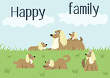 Happy family card with dog and puppies