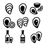 Oysters shell, sauce - sea food icons set