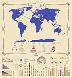 Pen Drawing Warld Map. Infographics