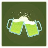 Vector illustration of two beer mugs splashing
