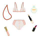 Fashion set with vintage polka dots underwear and cosmetics