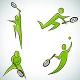 Tennis Player Icon Set