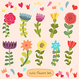 Cute hand drawn flowers set