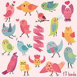 Cute cartoon birds set