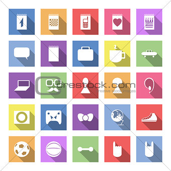 Flat icon set with long shadow for web