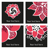 Set of posters with hand drawn tattoo floral elements