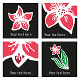 Set of vector stylish posters with hand drawn tattoo narcissus