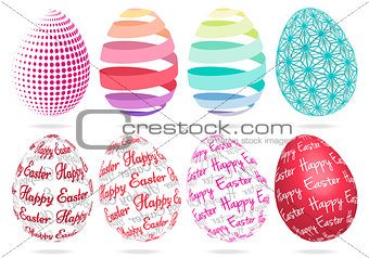 3D Easter eggs, vector set