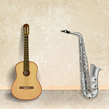 abstract music grunge background with guitar and saxophone