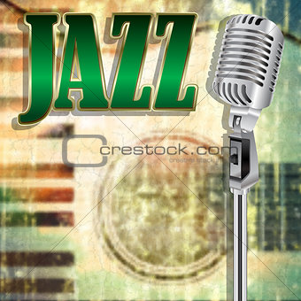 abstract grunge music background with word Jazz