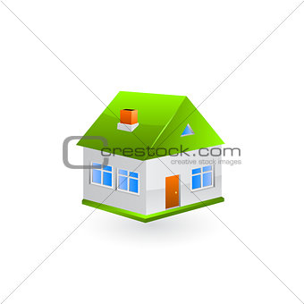 House with green roof. Vector